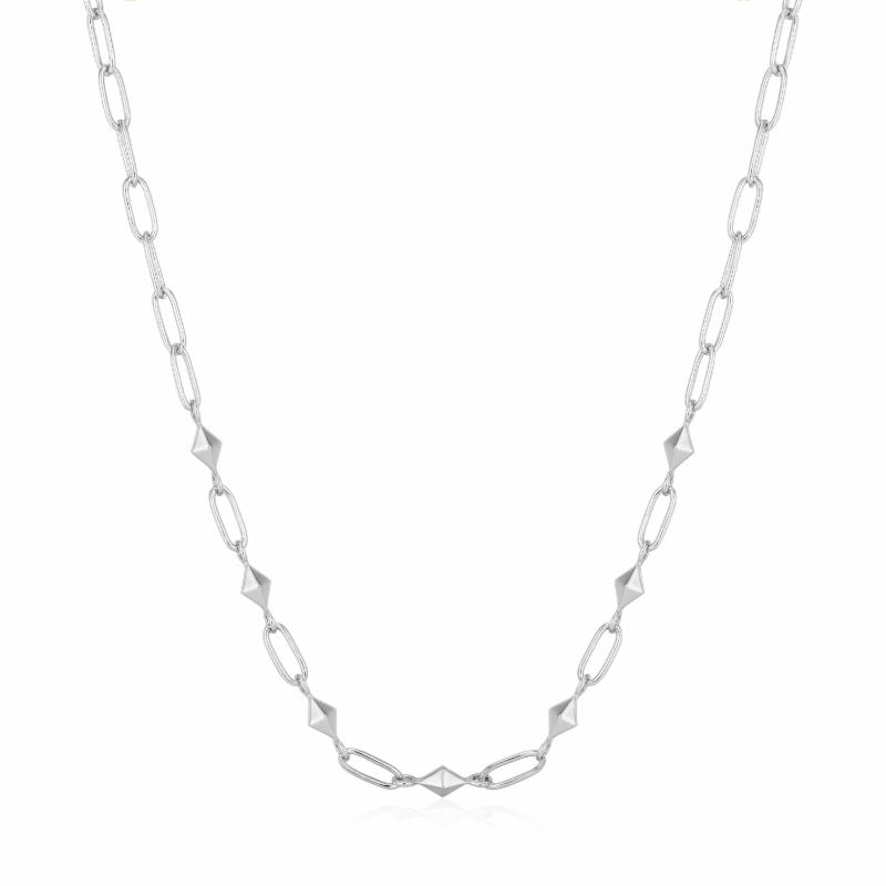 Silver Heavy Spike Necklace
