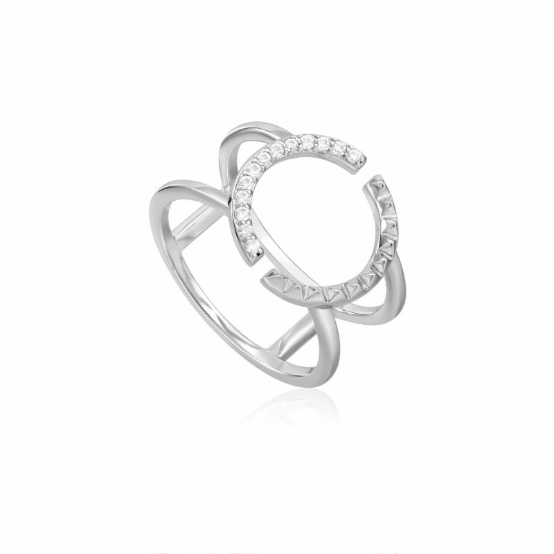 Silver Spike Double Ring