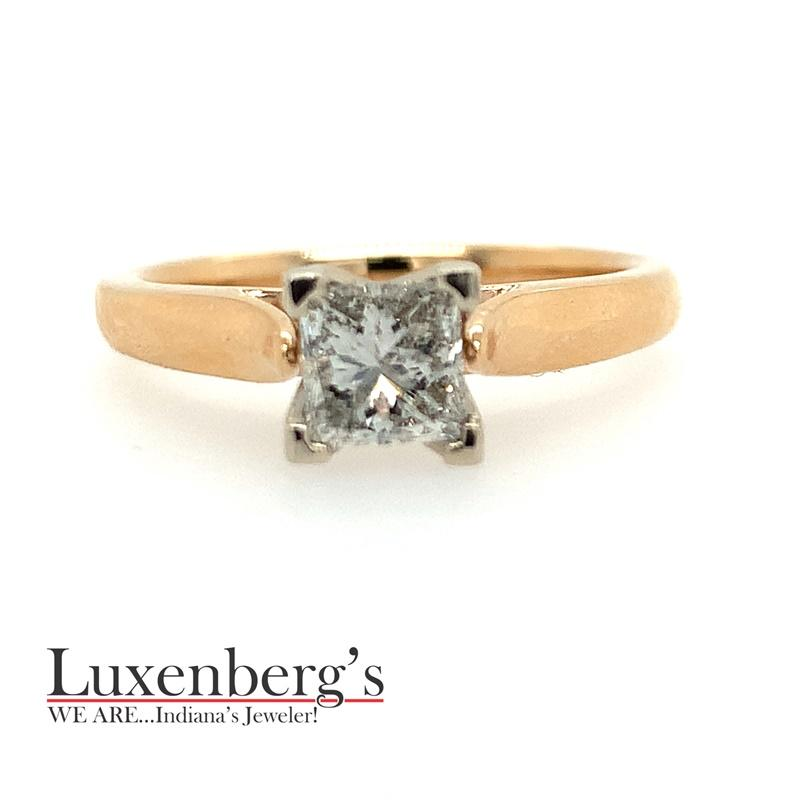 Princess Cut Cathedral Solitaire Engagement Ring
