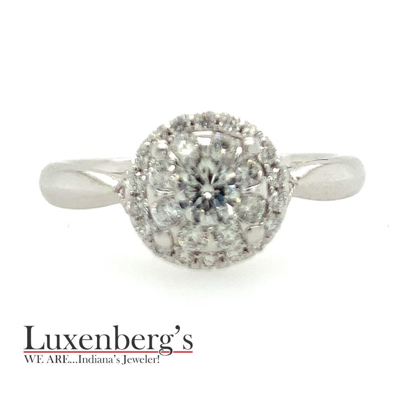 Diamond Cluster with Halo Engagement Ring