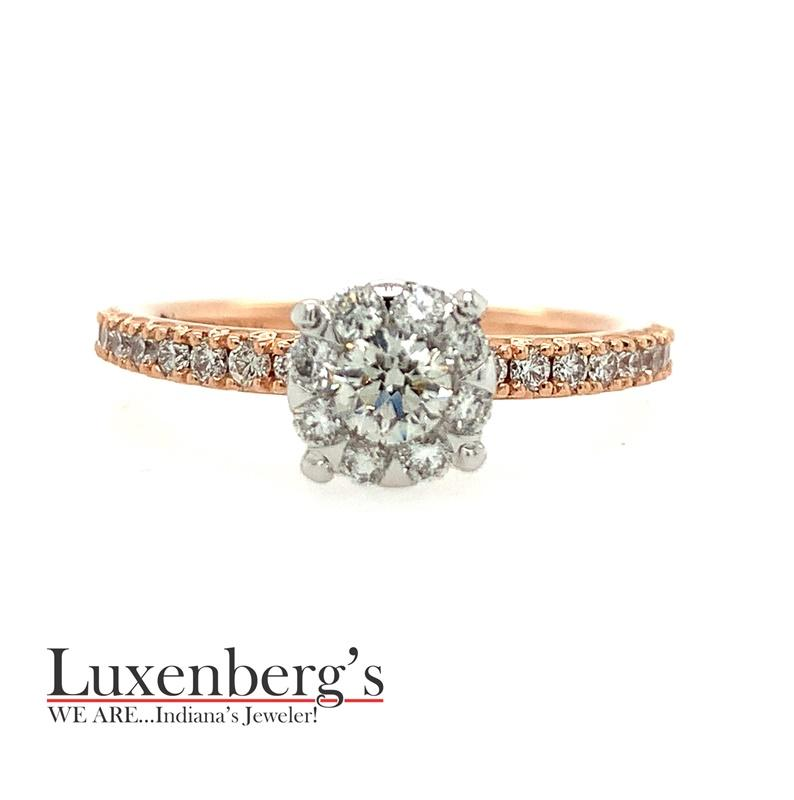 Rose Gold Invisible Halo Engagement Ring