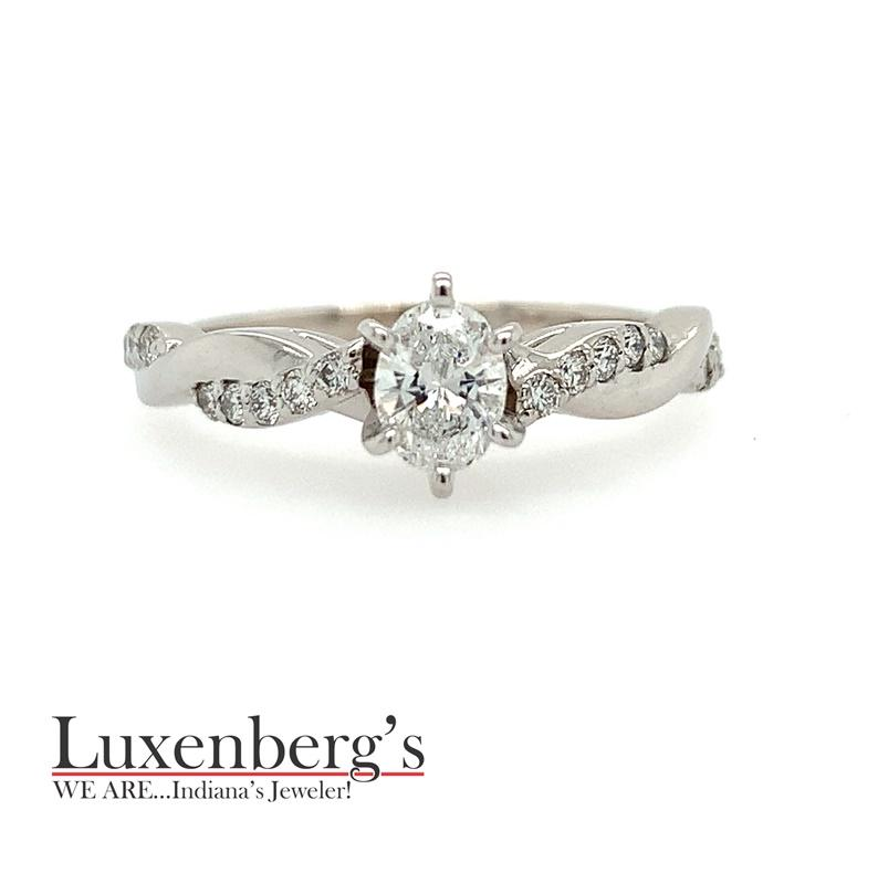 Oval Center with Twisted, Diamond Accent Engagement Ring