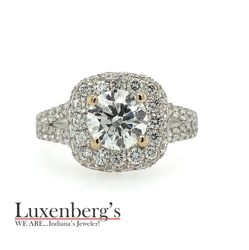 Double Pave Halo Engagement Ring