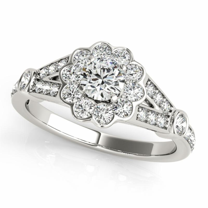 SEMI MOUNT ENGAGEMENT RING HALO ROUND - 8D1R50880-E