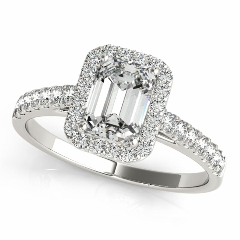 SEMI MOUNT ENGAGEMENT RING HALO EMERALD - 8D1R50921