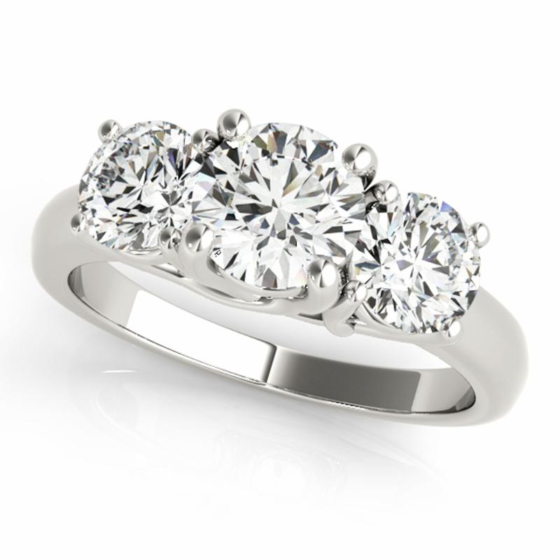 SEMI MOUNT ENGAGEMENT RING 3 STONE ROUND - 8D1R81978-D