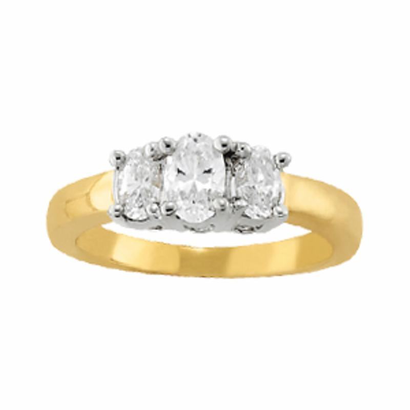 SEMI MOUNT ENGAGEMENT RING 3 STONE OVAL - 8D1R81979-A