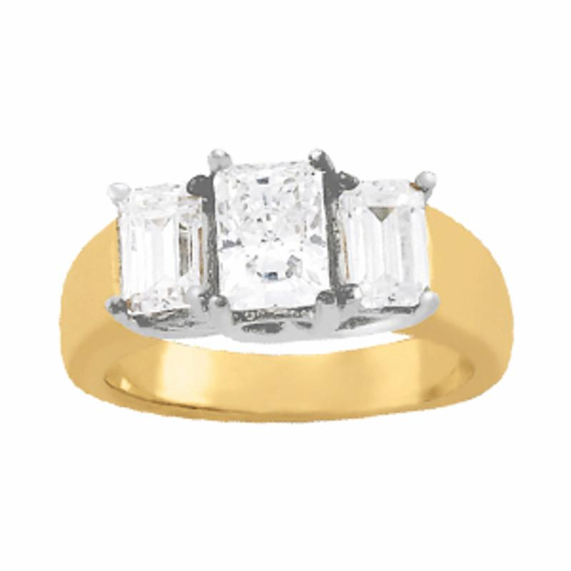 SEMI MOUNT ENGAGEMENT RING 3 STONE EMERALD - 8D1R81986-A