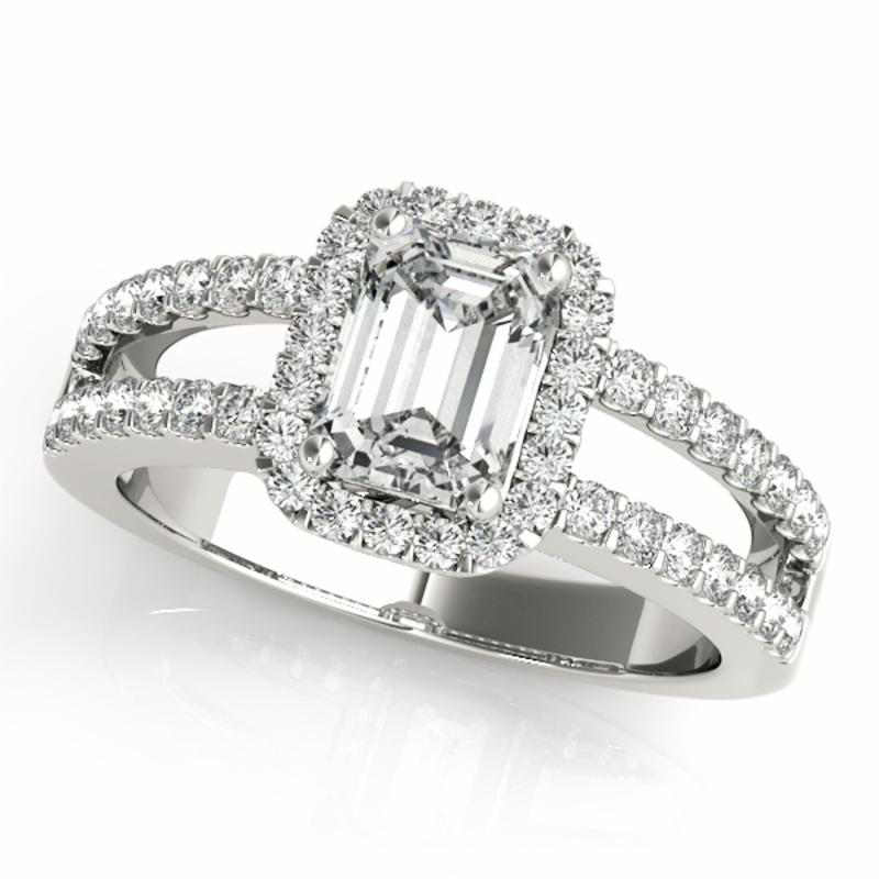 SEMI MOUNT ENGAGEMENT RING HALO EMERALD - 8D1R83494
