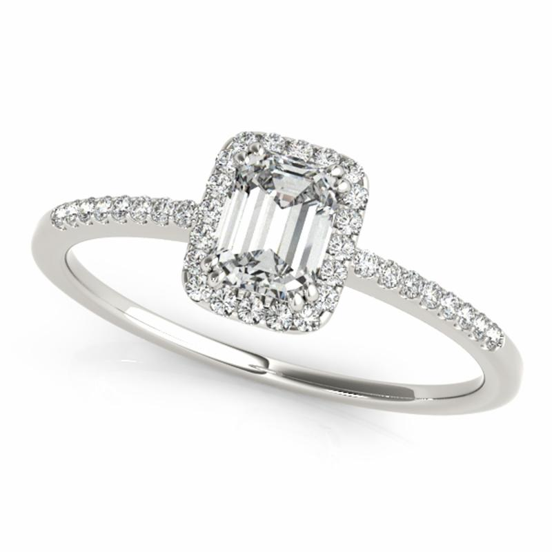 SEMI MOUNT ENGAGEMENT RING HALO EMERALD - 8D1R84373