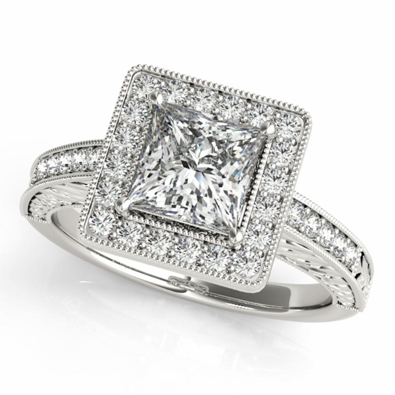 SEMI MOUNT ENGAGEMENT RING HALO SQUARE & CUSHION - 8D1R84510