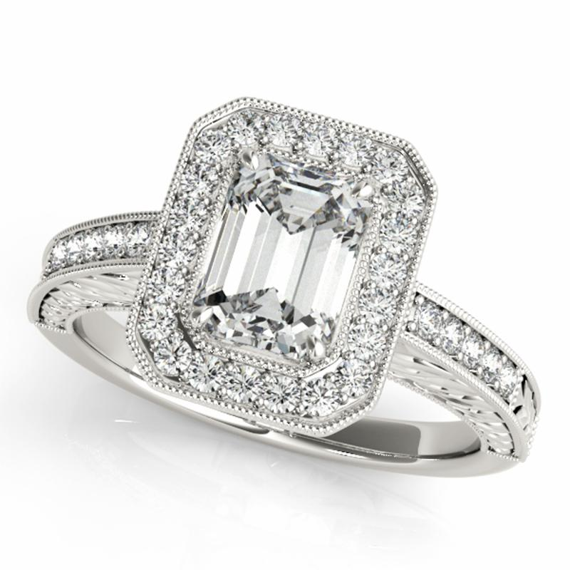 SEMI MOUNT ENGAGEMENT RING HALO EMERALD - 8D1R84511