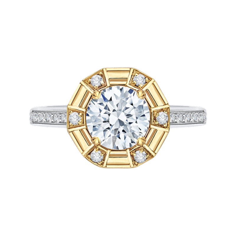 14K Two-Tone Gold Round Diamond Cathedral Style Engagement Ring (Semi-Mount)