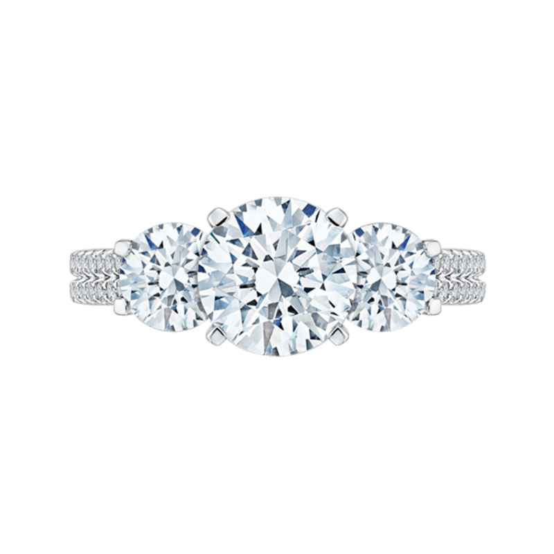 14K White Gold Round Cut Diamond Three-Stone Cathedral Style Engagement Ring (Semi-Mount)