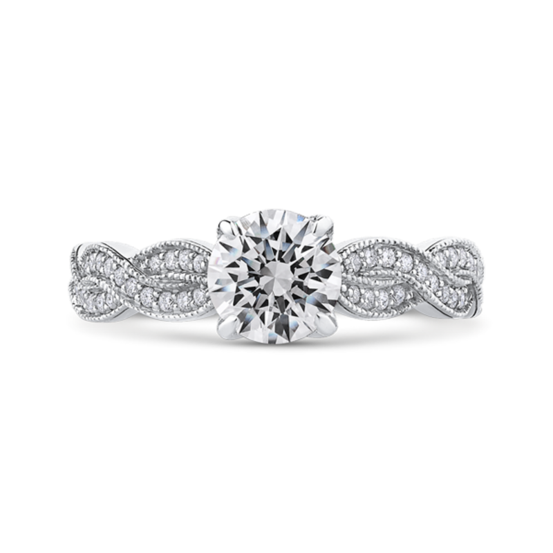 14K White Gold Round Diamond Floral Engagement Ring with Criss-Cross Shank (Semi-Mount)