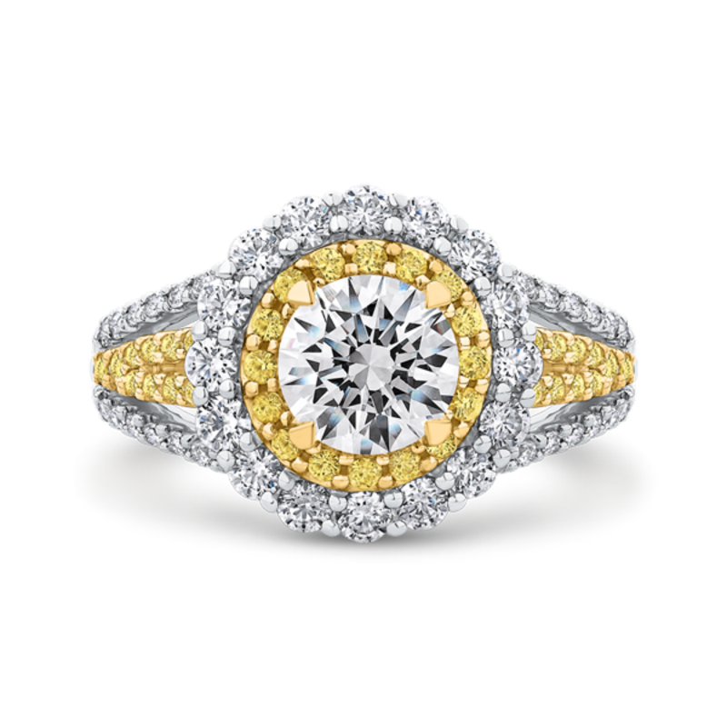 14K Two Tone Gold Round Diamond Double Halo Engagement Ring with Split Shank (Semi-Mount)