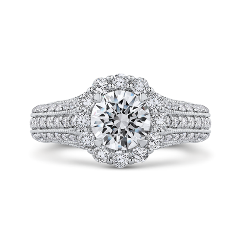 Round Diamond Halo Engagement Ring with Split Shank In 14K White Gold (Semi-Mount)