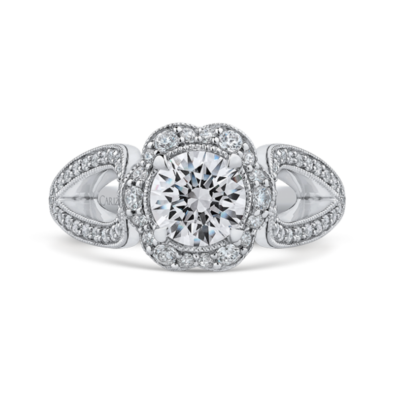 14K White Gold Round Diamond Floral Halo Engagement Ring with Split Shank (Semi-Mount)