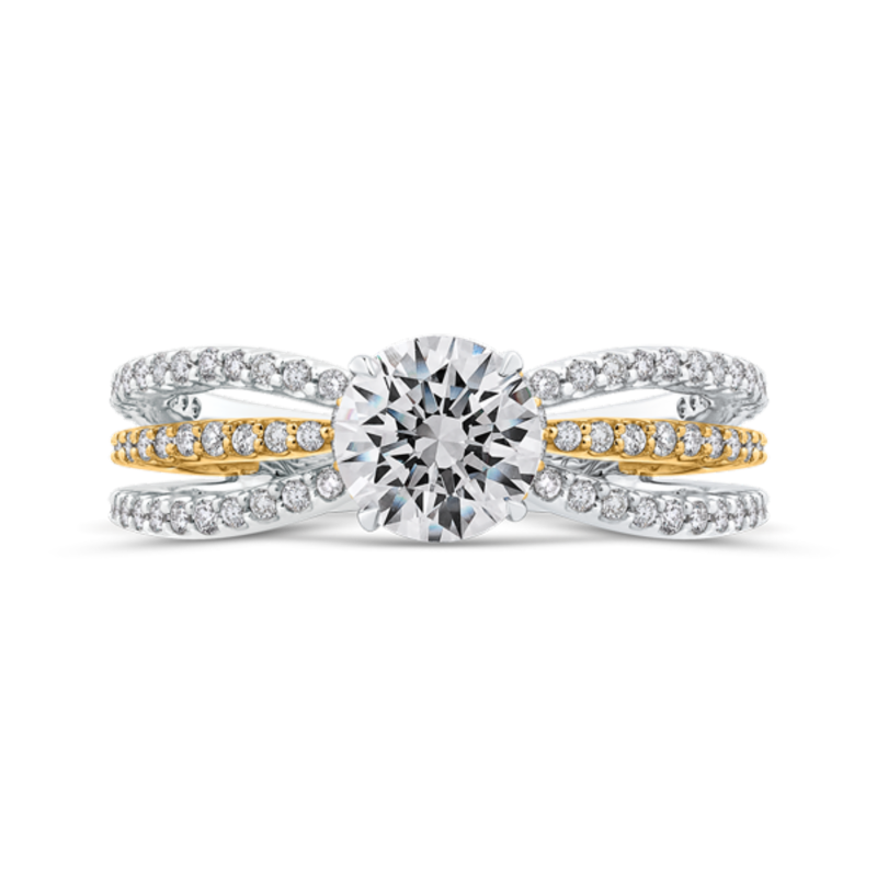 14K Two Tone Gold Round Diamond Engagement Ring with Split Shank (Semi-Mount)