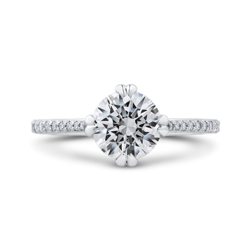 14K Two Tone Gold Round Diamond Floral Engagement Ring (Semi-Mount)