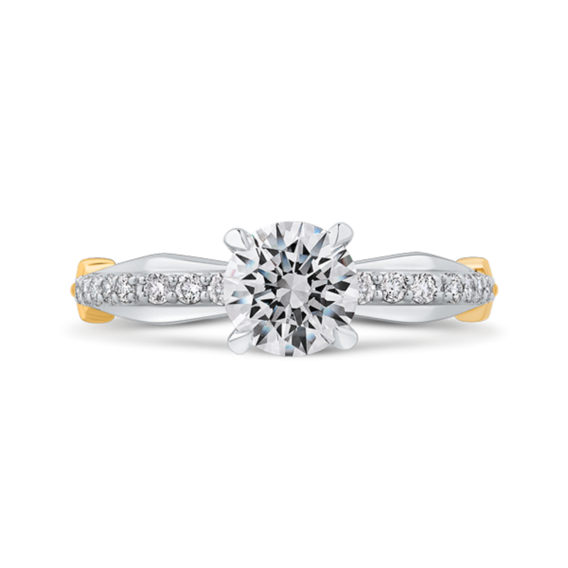 14K Two-Tone Gold Round Diamond Engagement Ring with Euro Shank (Semi-Mount)