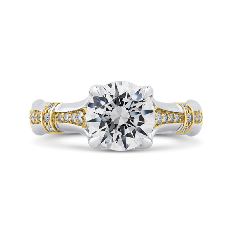 14K Two-Tone Gold Round Cut Diamond Floral Engagement Ring (Semi-Mount)
