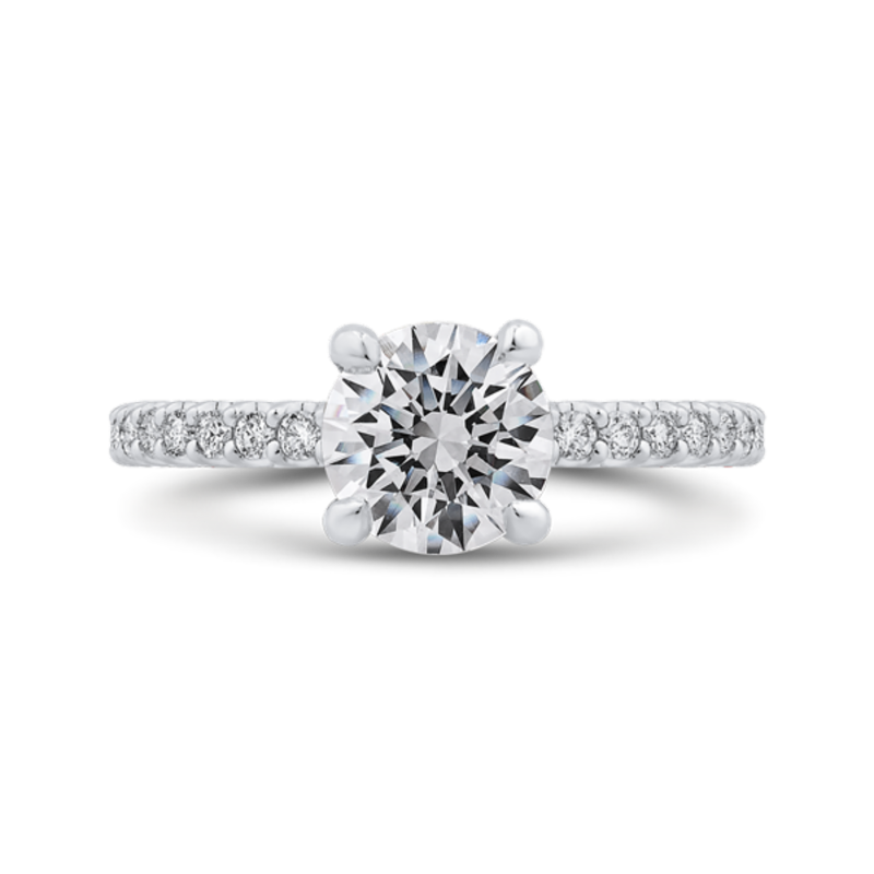 Round Cut Diamond Classic Engagement Ring In 14K White Gold (Semi-Mount)