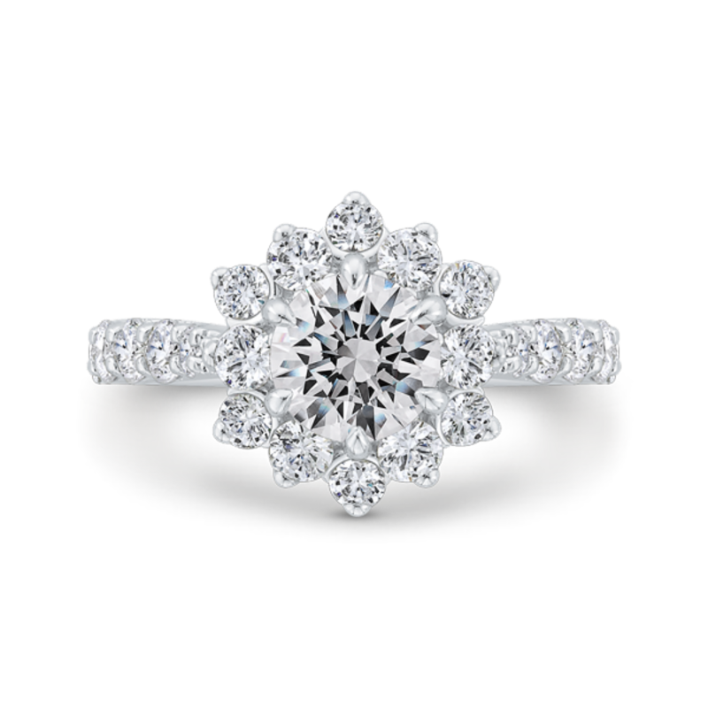 14K White Gold Round Diamond Floral Engagement Ring with Round Shank (Semi-Mount)