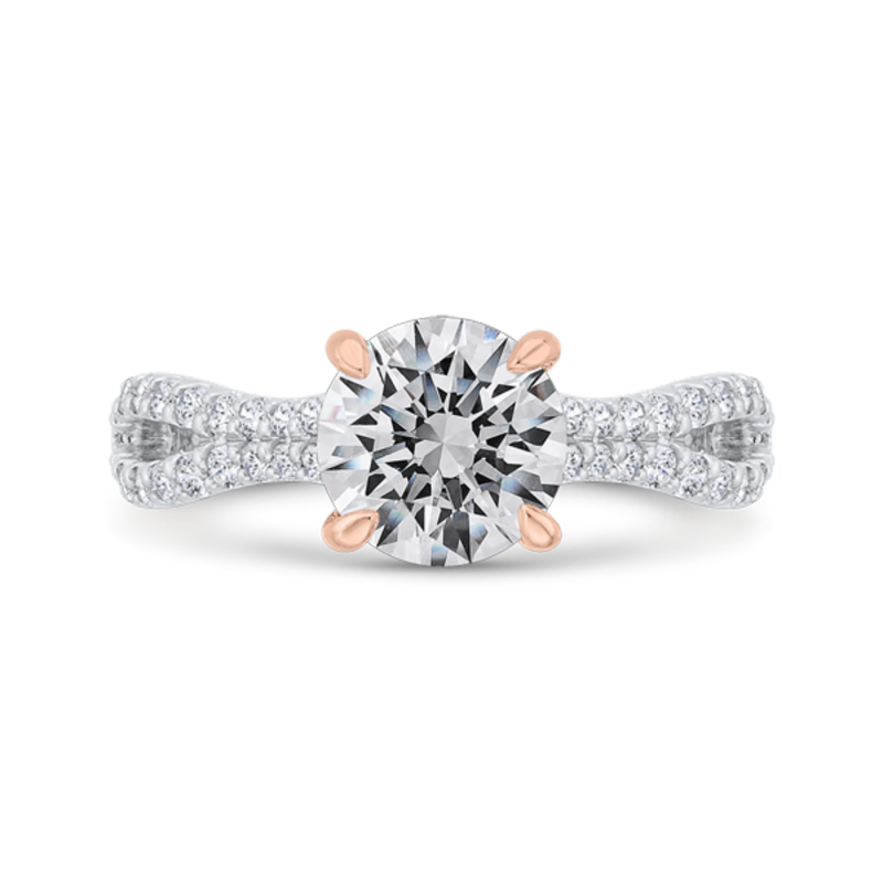 Round Cut Diamond Engagement Ring with Split Shank In 14K Two-Tone Gold (Semi-Mount)
