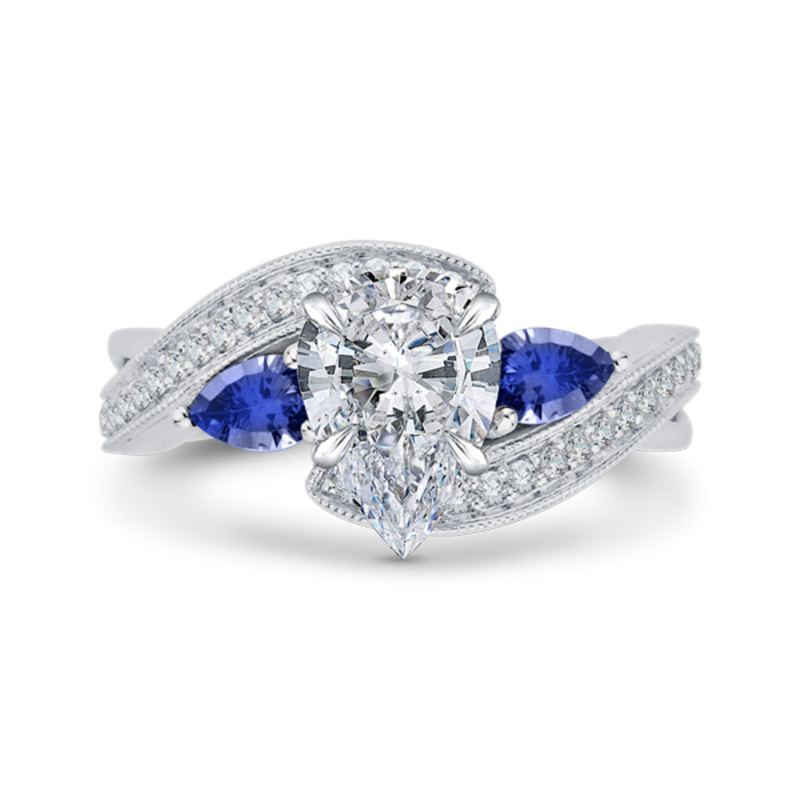 14K White Gold Pear Diamond Engagement Ring with Sapphire (Semi-Mount)