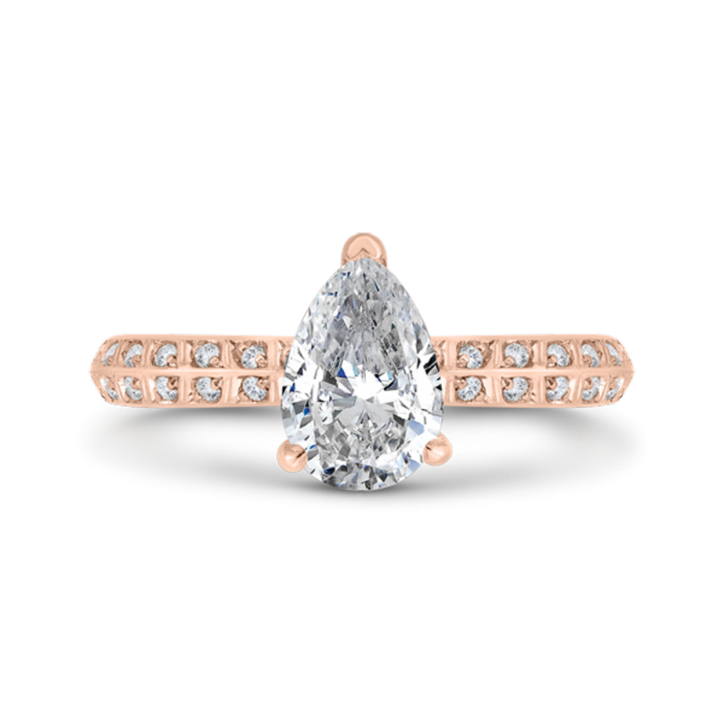 14K Rose Gold Pear Diamond Double Row Engagement Ring with Round Shank (Semi-Mount)