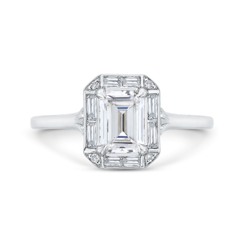 Emerald Cut Diamond Engagement Ring with Round Shank In 14K White Gold (Semi-Mount)