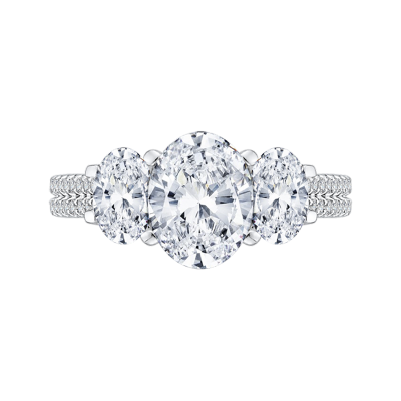 14K White Gold Oval Cut Diamond Three-Stone Cathedral Style Engagement Ring (Semi-Mount)