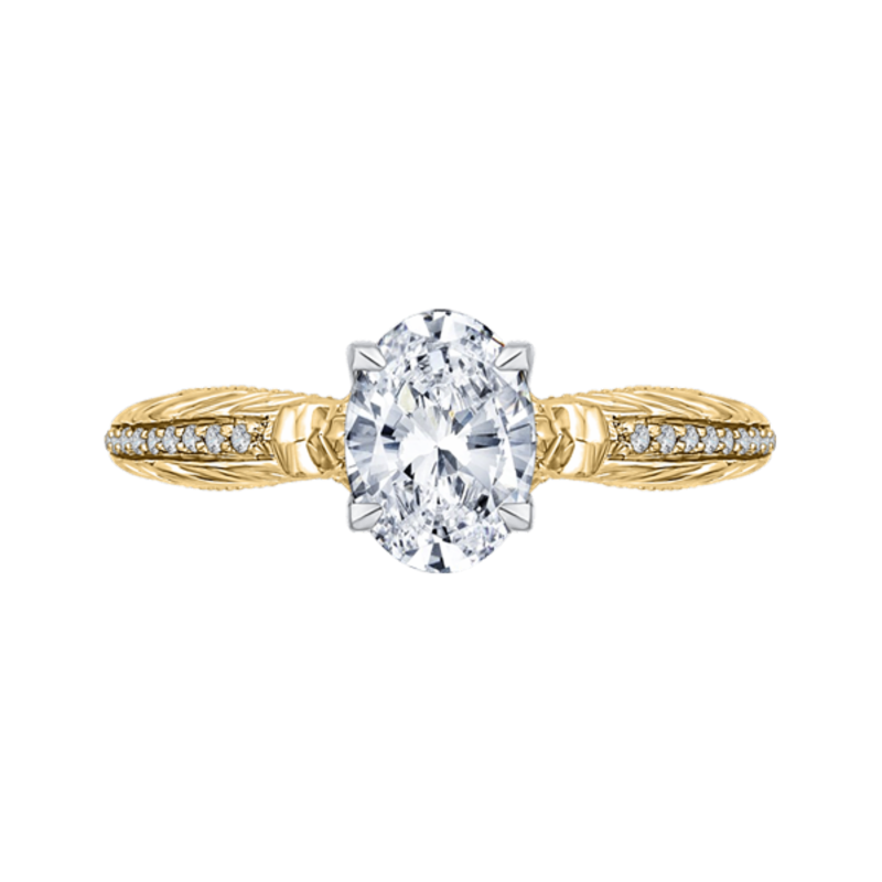 14K Two-Tone Gold Oval Diamond Engagement Ring (Semi-Mount)
