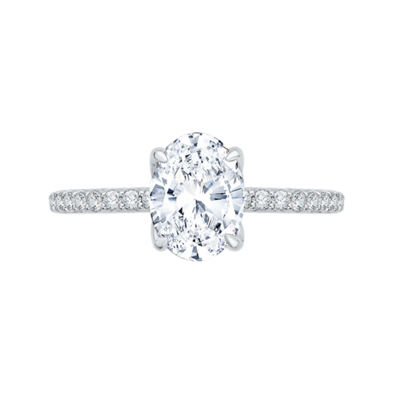 14K White Gold Oval Diamond Floral Engagement Ring (Semi-Mount)