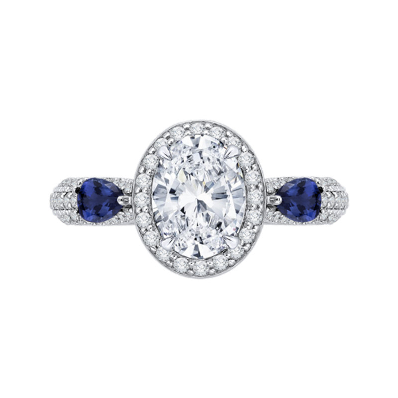 14K White Gold Oval Diamond Halo Engagement Ring with Sapphire (Semi-Mount)