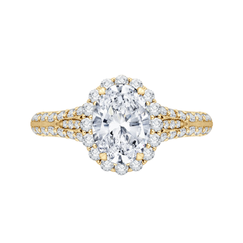 Oval Diamond Halo Vintage Engagement Ring In 14K Yellow Gold (Semi-Mount)