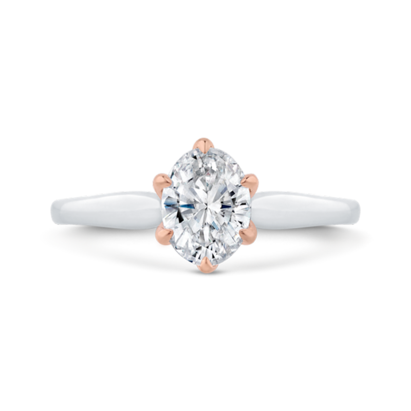 14K Two-Tone Gold Oval Diamond Solitaire Engagement Ring  (Semi-Mount)