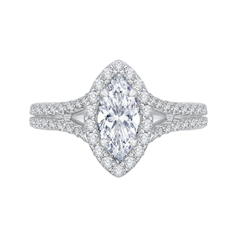14K Two-Tone Gold Marquise Diamond Halo Vintage Engagement Ring with Split Shank (Semi-Mount)