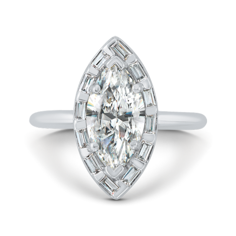 14K White Gold Marquise Cut Diamond Engagement Ring with Round Shank (Semi-Mount)