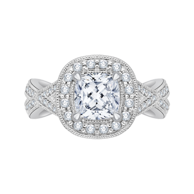 Cushion Cut Diamond Halo Engagement Ring with Split Shank In 14K White Gold (Semi-Mount)