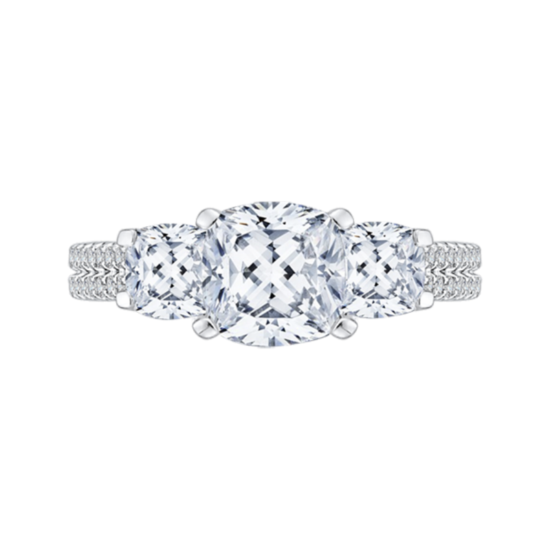 Cushion Cut Diamond with Sapphire Three-Stone Cathedral Style Engagement Ring In 14K White Gold (Semi-Mount)