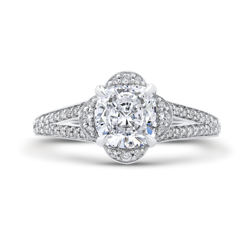 Cushion Diamond Cathedral Style Engagement Ring In 14K White Gold (Semi-Mount)