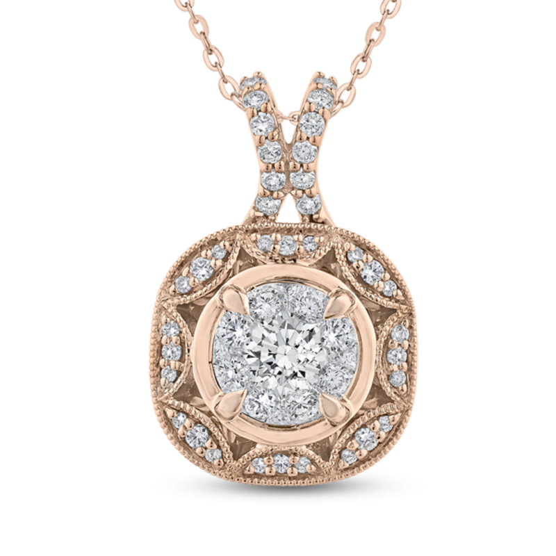 Round Diamond Fashion Pendant In 14K Two-Tone Gold with Chain