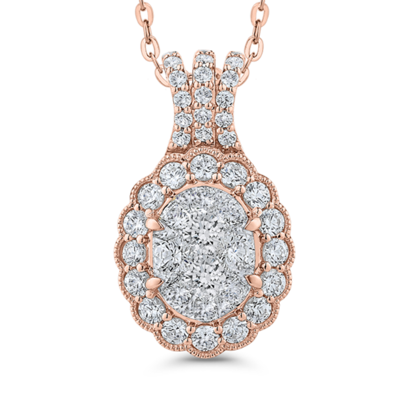 Round Diamond Halo Pendant In 14K Two-Tone Gold with Chain