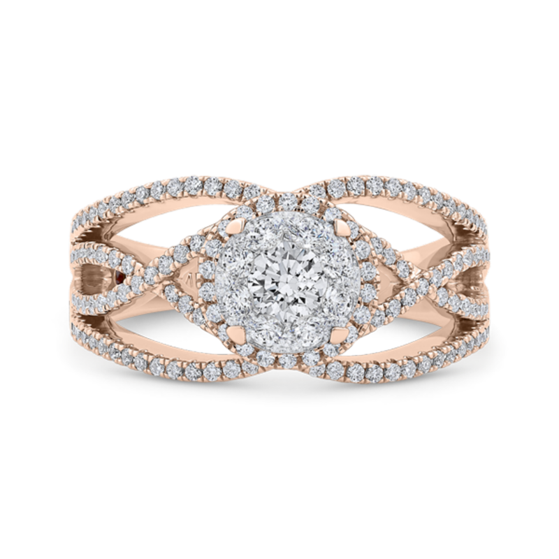 Round Cut Diamond Fashion Ring In 14K Two-Tone Gold