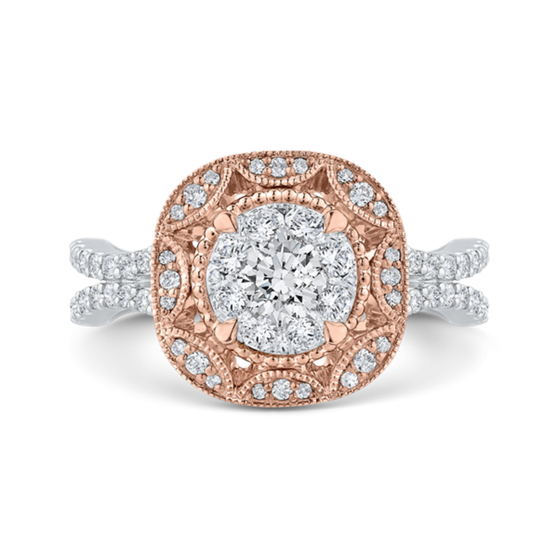 14K Two-Tone Gold Round Cut Diamond Flower Engagement Ring