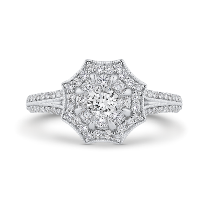 14K Two-Tone Gold Round Diamond Floral Halo Engagement Ring with Split Shank