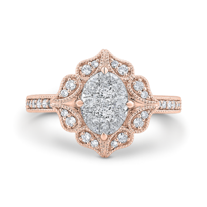 14K Two-Tone Gold Round Cut Diamond Engagement Ring