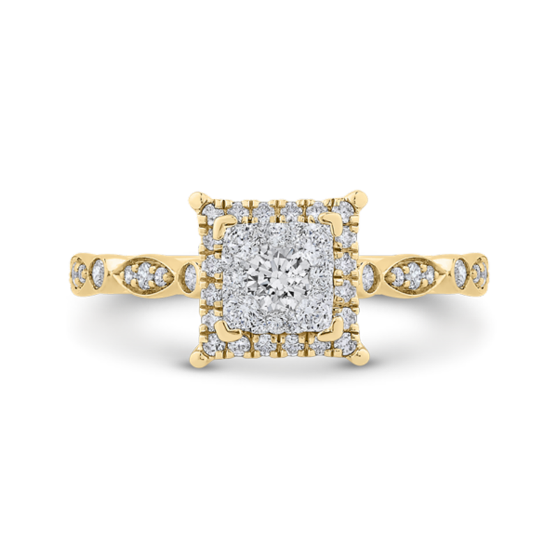 Round Cut Diamond Halo Engagement Ring In 14K Two-Tone Gold